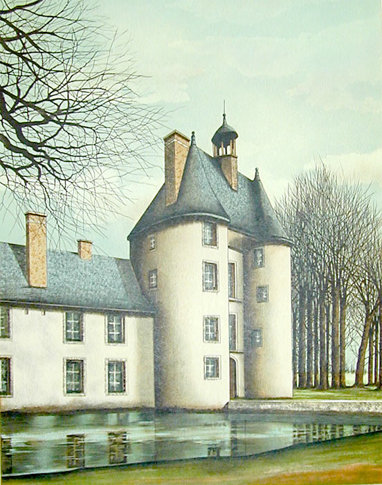 Jacques Deperthes signed lithograph The Manor on the Edge of the Water