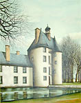 Jacques Deperthes signed lithograph Manor on the Edge of the Water