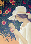 Yves Gannes signed lithograph Woman with Peach