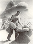 Grant Wood signed lithograph Approaching Storm