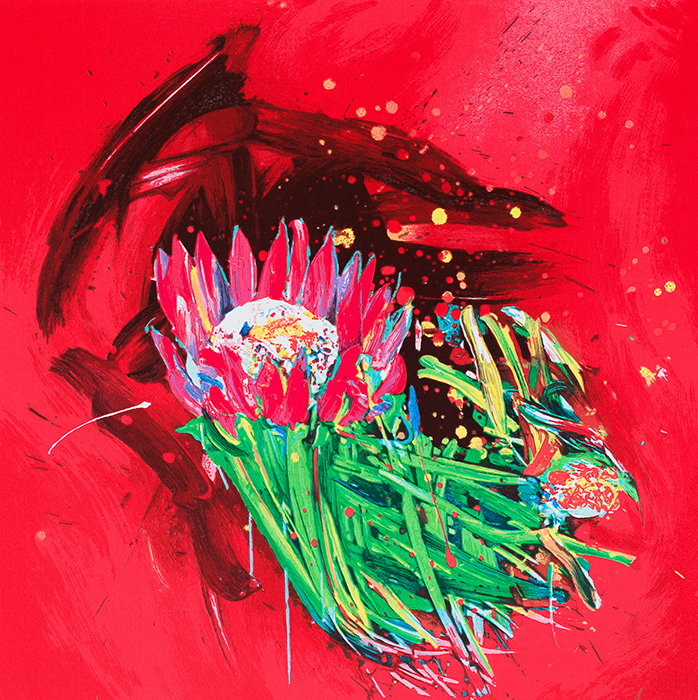 Gianni Borta Signed and numbered serigraph Fire Flowers