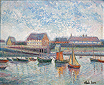 "H. Claude Pissarro ""The Port at Yerville, France"" oil on canvas for sale"