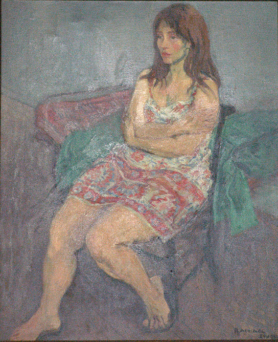 "Raphael Soyer ""Girl in a Plaid Dress"" oil on canvas"