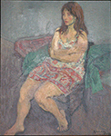 "Raphael Soyer ""Girl in India Plaid Dress"" oil on canvas painting for sale"